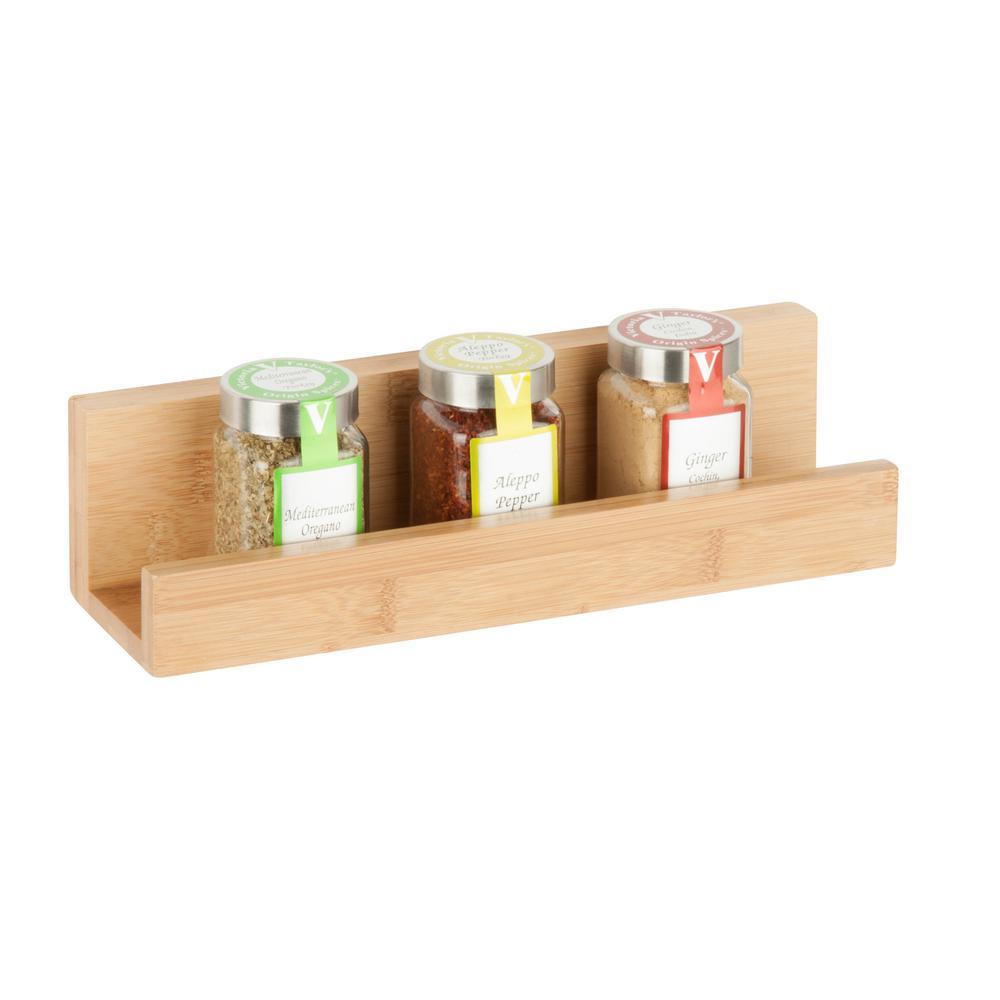 11.81 in. W x 3.39 in. D Wall Ledge Shelf in Bamboo Decorative Shelf