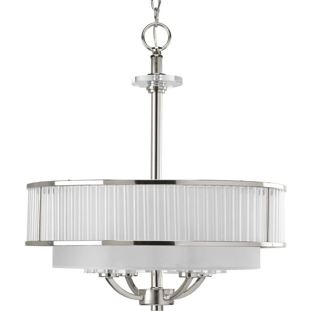 Progress Lighting Nisse Collection 4 Light Polished Nickel Semi Flush Mount