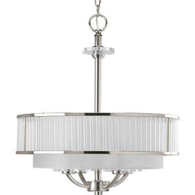 Nisse Collection 4-Light Polished Nickel Semi-Flushmount