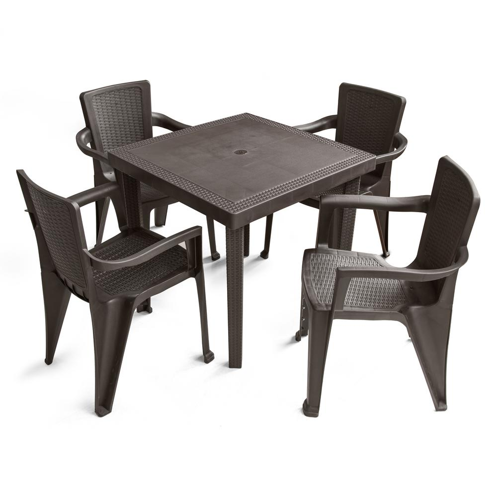 Super Mq 5 Piece Plastic Resin Outdoor Dinning Set In Espresso Home Interior And Landscaping Ferensignezvosmurscom