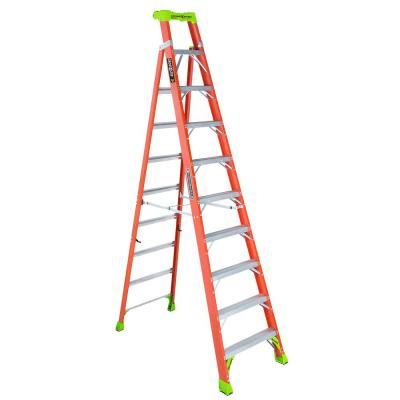 Louisville Ladder 10 Ft Fiberglass Step Ladder With 300 Lbs Load Capacity Type Ia Duty Rating Fs1510 The Home Depot