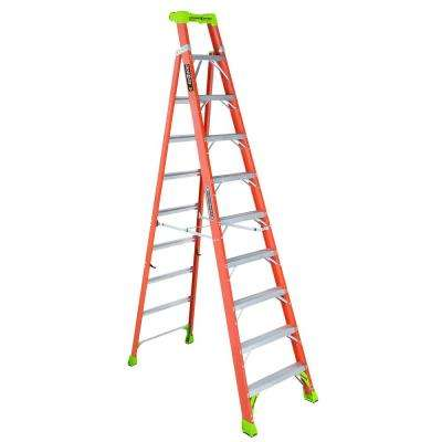 10 ft. Fiberglass Cross Step Ladder with 300 lbs. Load Capacity Type IA Duty Rating