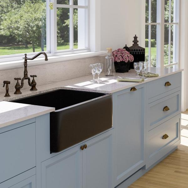 Barclay Products Acantha Farmhouse Apron Front Granite Composite 33 In Single Bowl Kitchen Sink In Polished Black Fsgsb4032 Gpbl The Home Depot