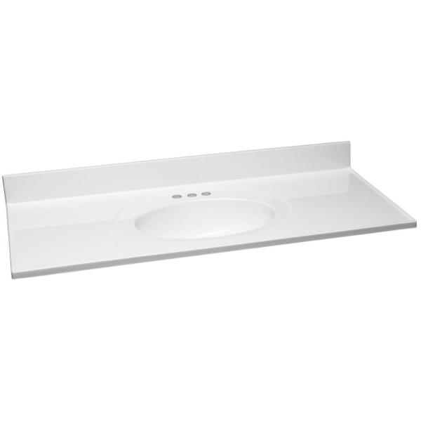 49 in. W x 22 in. D Cultured Marble Vanity Top in Solid White with Solid White Basin