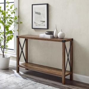 Industrial 46 in. Rustic Oak Standard Rectangle Wood Console Table with Storage