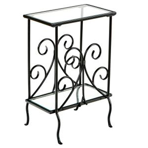 jeld wen 36 in x 80 in fan lite langford mesa red painted steel Frosted Glass Front Dfoor black metal magazine end table