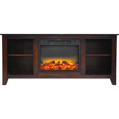 Santa Monica 63 in. Electric Fireplace and Entertainment Stand in Mahogany with Enhanced Log Display