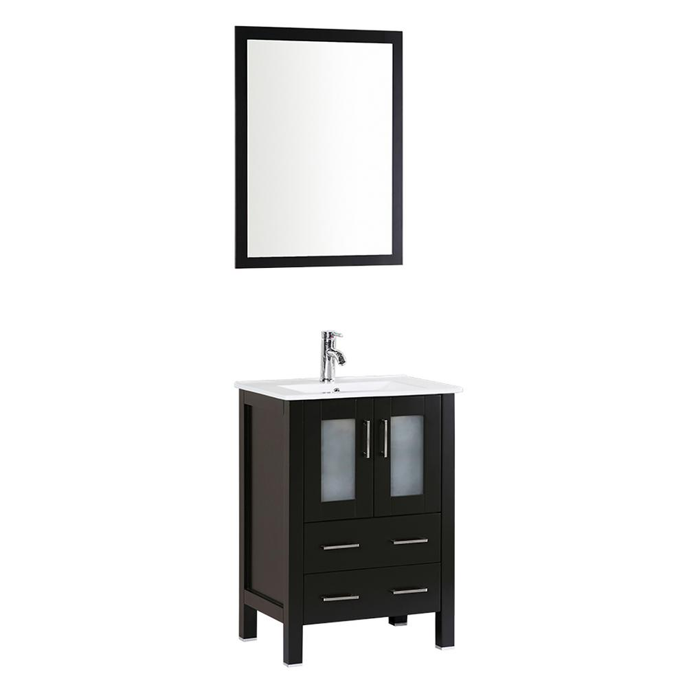 Bosconi 24 in. Single Vanity in Espresso with Vanity Top in White in White with White Basin and Mirror