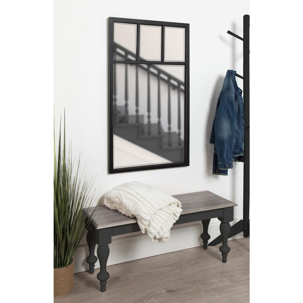 Hogan 4 Windowpane Wood Wall Mirror 24 x 42 Black