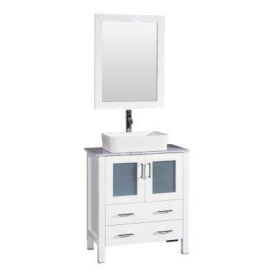 30 in. W Single Bath Vanity in White with Carrara Marble Vanity Top with White Basin and Mirror