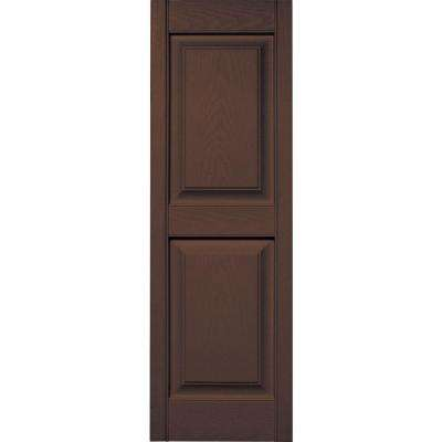 15 in. x 47 in. Raised Panel Vinyl Exterior Shutters Pair in #009 Federal Brown