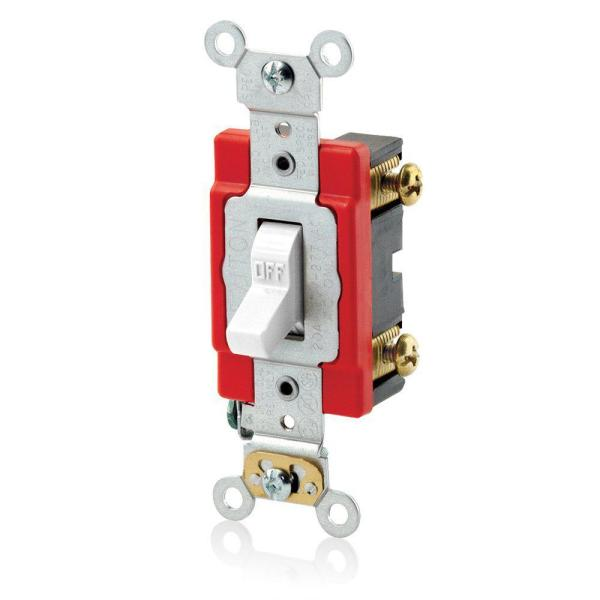 20 Amp 120/277-Volt Antimicrobial Treated Toggle with Standard Single-Pole AC Quiet Switch, White