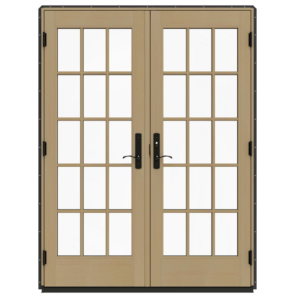 60 in. x 80 in. W-4500 Bronze Clad Wood Left-Hand 15 Lite French Patio Door w/Unfinished Interior