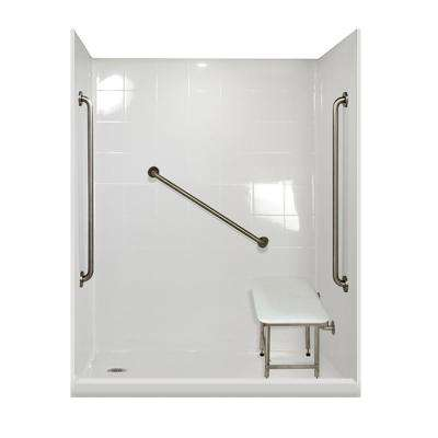 Plus 36 Package 60 in. x 33.375 in. x 79.5 in. 5-Piece Low Threshold Shower Stall in White, Left Drain