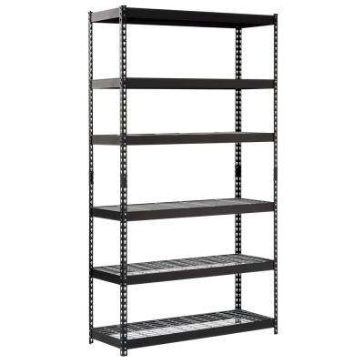 86 in. H x 48 in. W x 18 in. D Black Steel 6-Shelves Shelving Unit