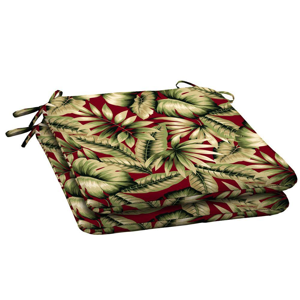Hampton Bay Chili Tropical Outdoor Seat Pad (2-Pack)-DISCONTINUED