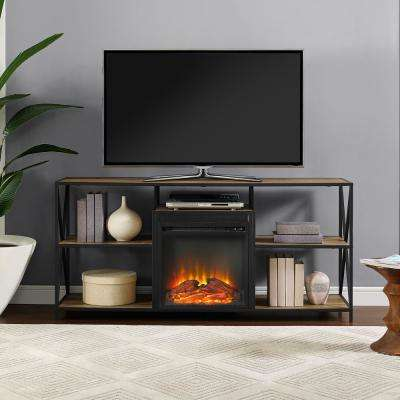 "60"" Rustic Electric Fireplace X-Frame TV Stand Console Entertainment Center - Barnwood"