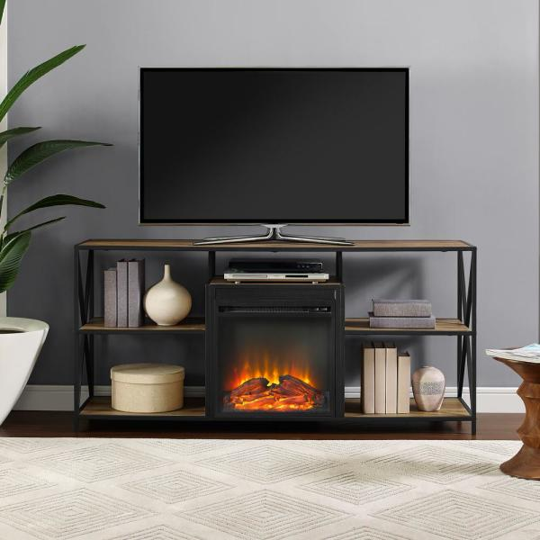 "Walker Edison 60"" Rustic Electric Fireplace X-Frame TV Stand Console Entertainment Center - Barnwood"