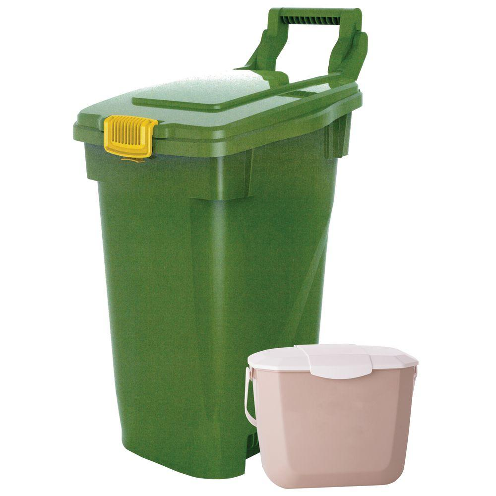 Enviro World 16 Gal. Curbside Organic Bin and 2 Gal. Kitchen Organic Bin