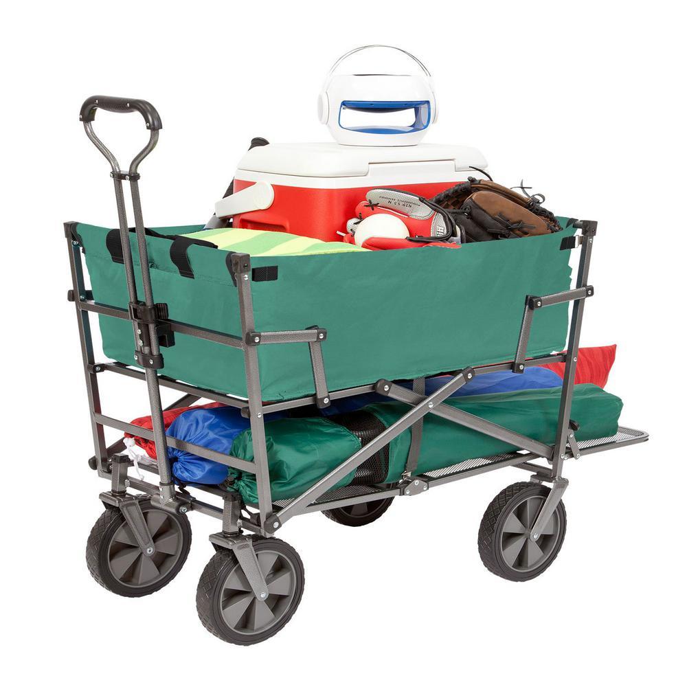 Heavy-Duty Steel Double Decker Collapsible Yard Cart Wagon, Green