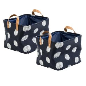 Honey-Can-Do Coastal Collection 13 inch x 11 inch Navy and Grey Canvas Basket... by Honey-Can-Do