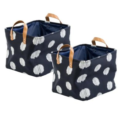 Coastal Collection 13 in. x 11 in. Navy and Grey Canvas Basket (2-Pack)
