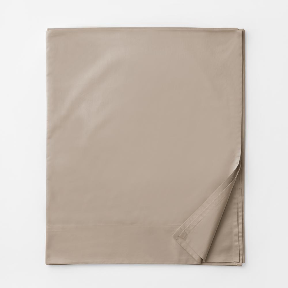Legends Luxury Solid Cobblestone 500-Thread Count Cotton Sateen Full Flat Sheet