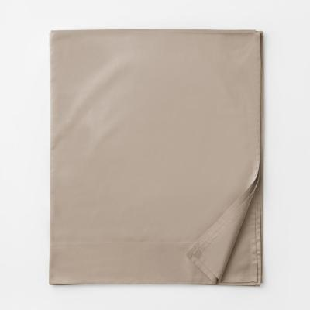 Legends Luxury Solid Cobblestone 500-Thread Count Cotton Sateen Queen Flat Sheet