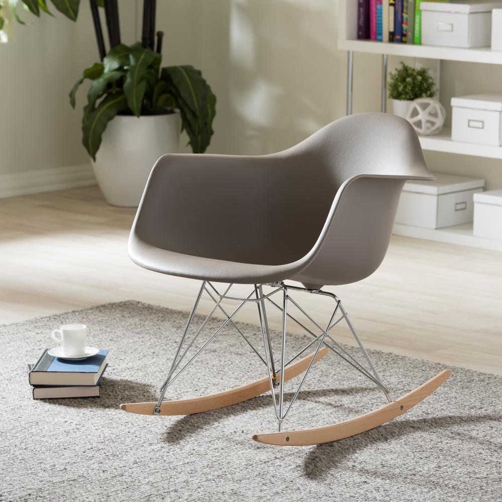 Dario Mid Century Gray Plastic Finished Rocking Chair