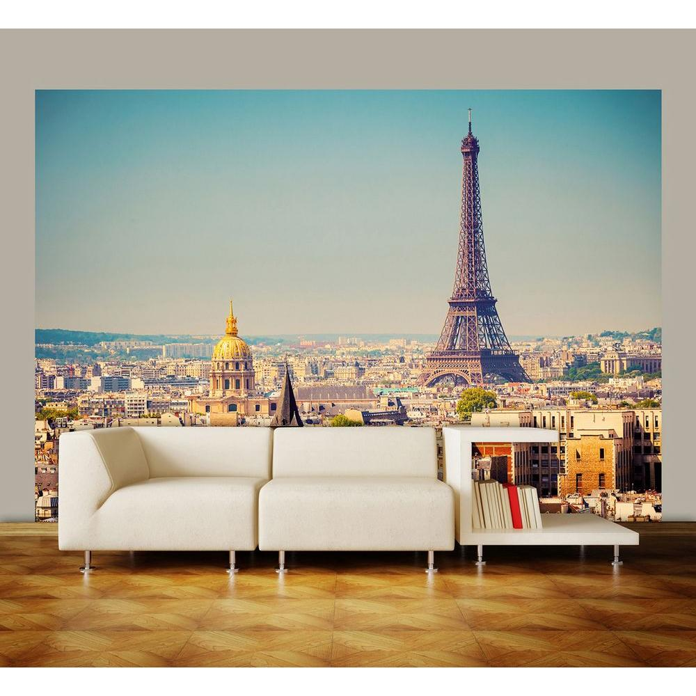 ideal decor 100 in x 144 in paris wall mural dm950 the home depot. Black Bedroom Furniture Sets. Home Design Ideas