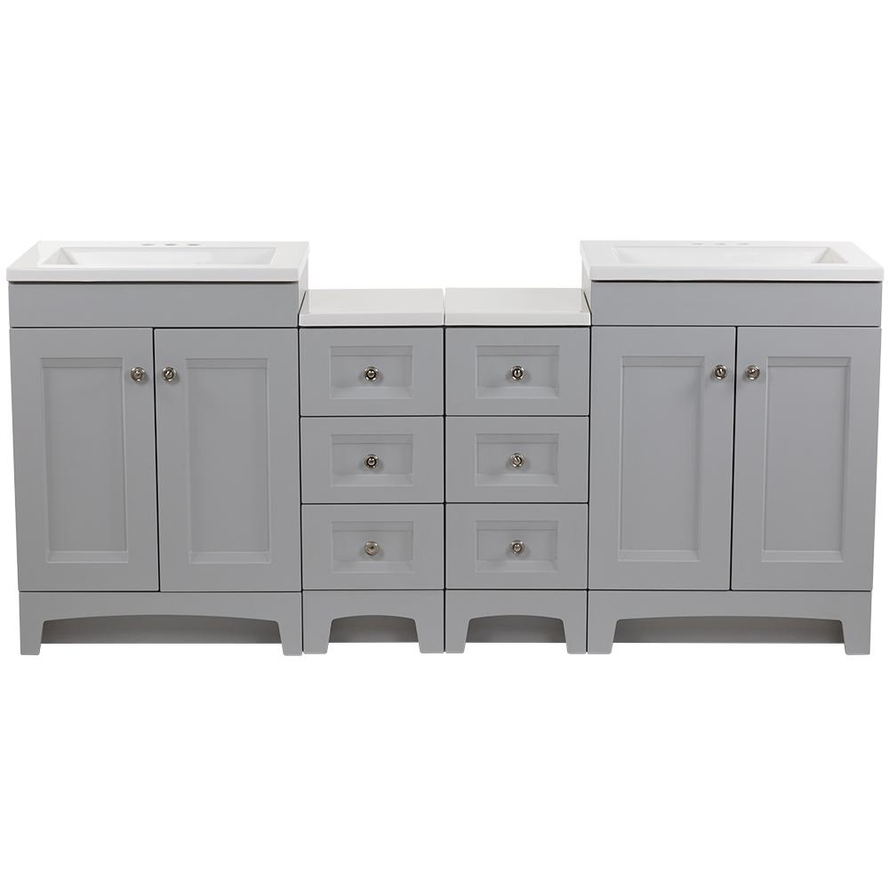 Glacier Bay Delridge Bath Suite with Two 24 in. Vanities Vanity Tops and 2-Drawer Bases in Pearl Gray