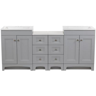 Delridge Bath Suite with Two 24 in. Vanities Vanity Tops and 2-Drawer Bases in Pearl Gray