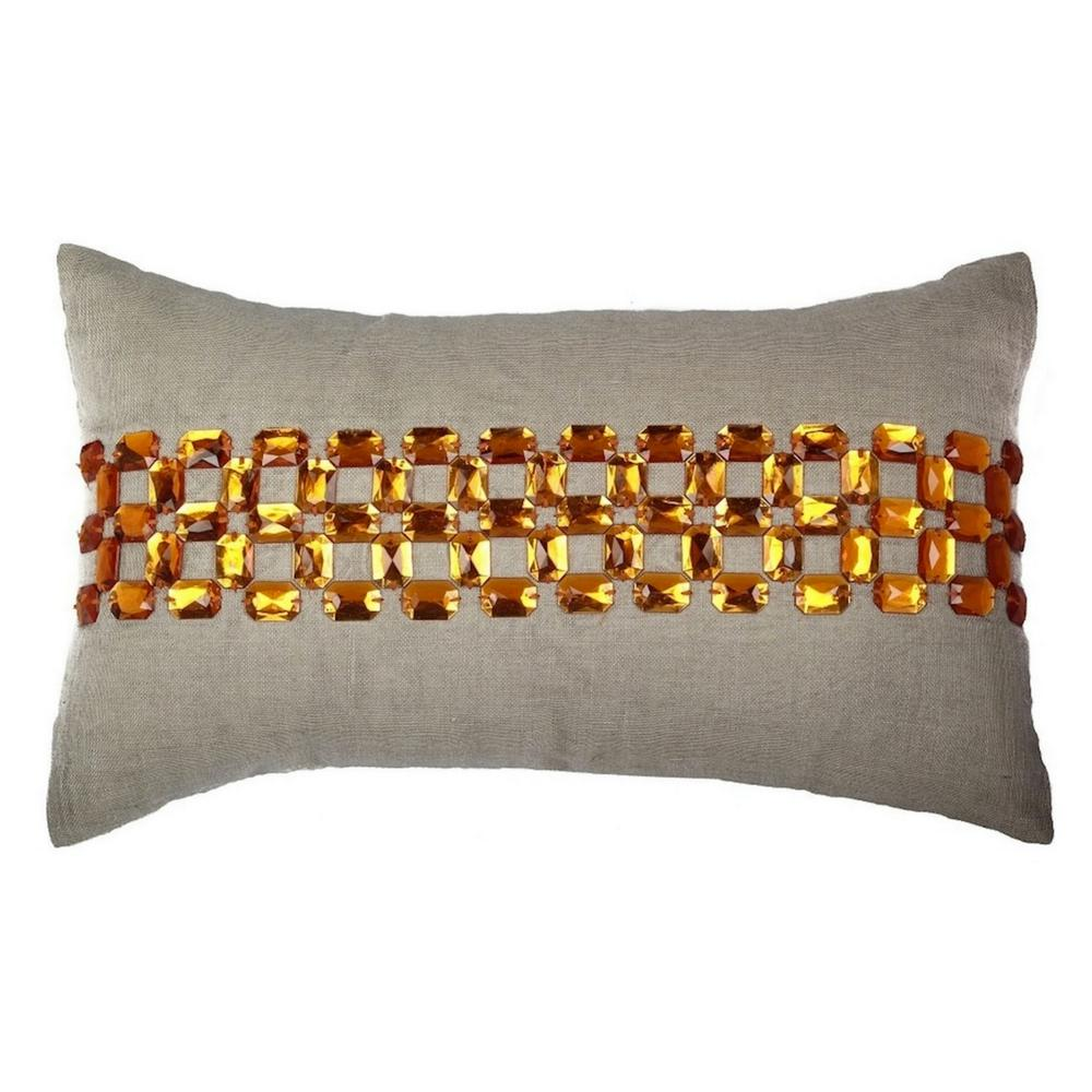 A1HC Gem Opulence Beige and Orange 100% Cotton Decorative Pillow