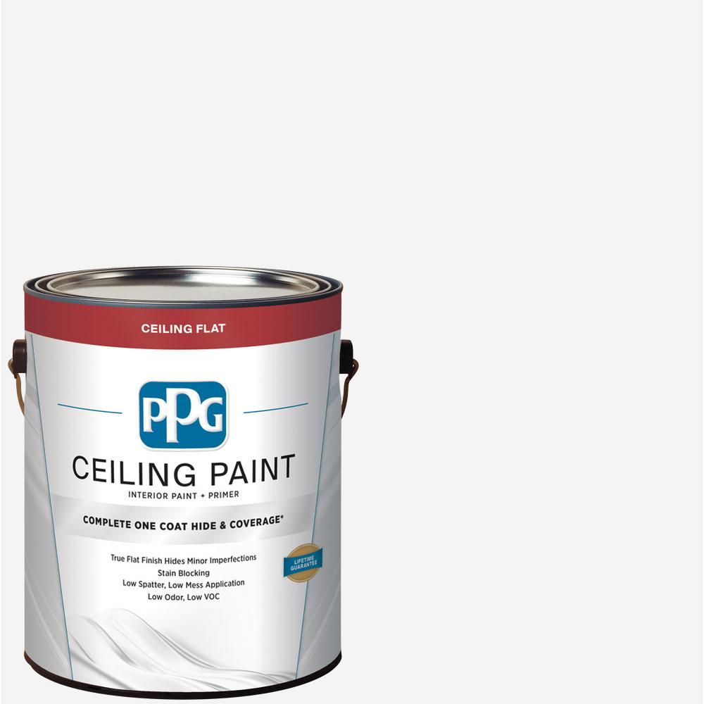 Paint And Primer >> Ppg 1 Gal White Flat Interior One Coat Ceiling Paint With Primer