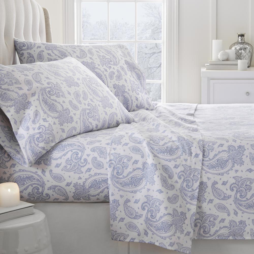 Paisley Flannel Light Blue King 4-Piece Bed Sheet Set