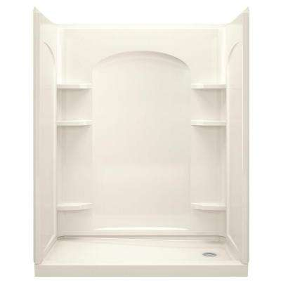 Ensemble 32 in. x 60 in. x 74-1/2 in. Shower Stall with Age-in-Place Backers in Biscuit
