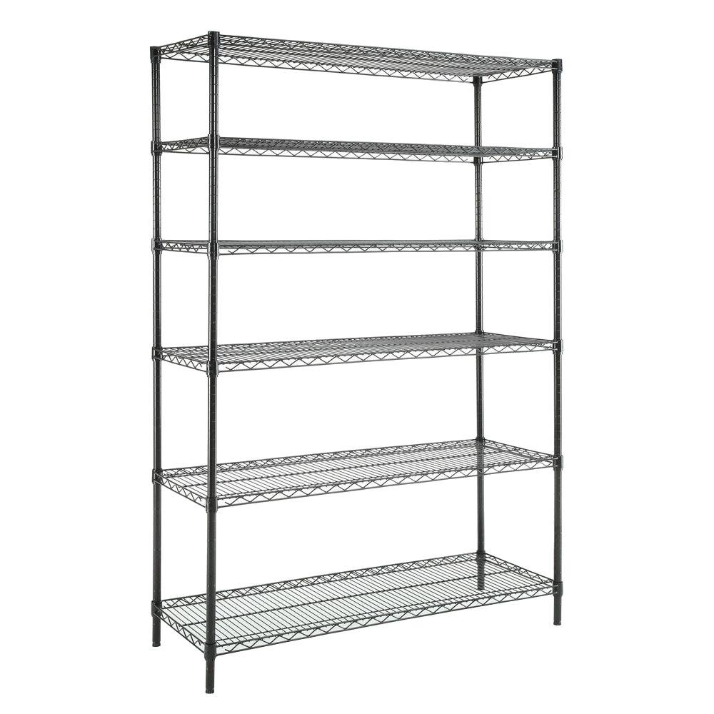 HDX 6-Tier 48 in. x 18 in. x 72 in. Wire Shelving Unit in Black ...