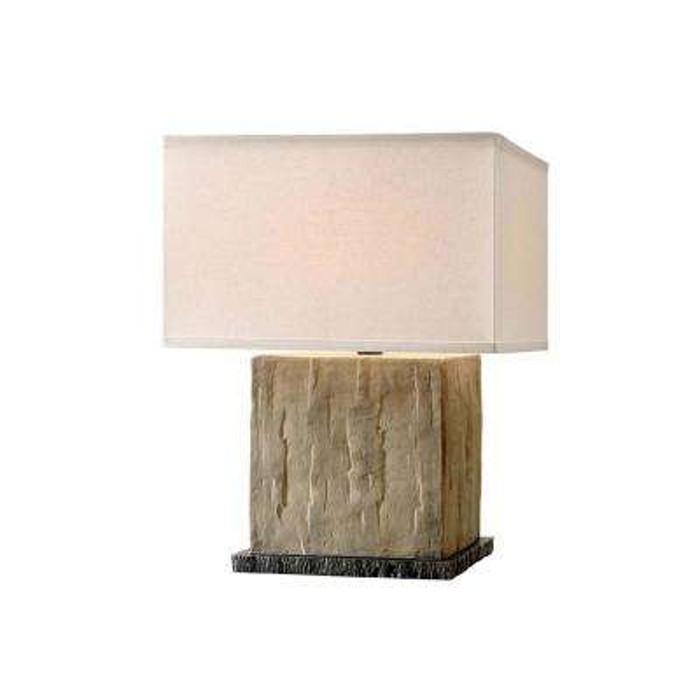 La Brea 20 in. Sandstone Table Lamp with Off-White Linen Shade