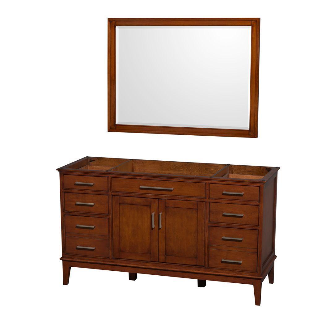 Wyndham Collection Hatton 59 in. Vanity Cabinet with Mirror in Light Chestnut