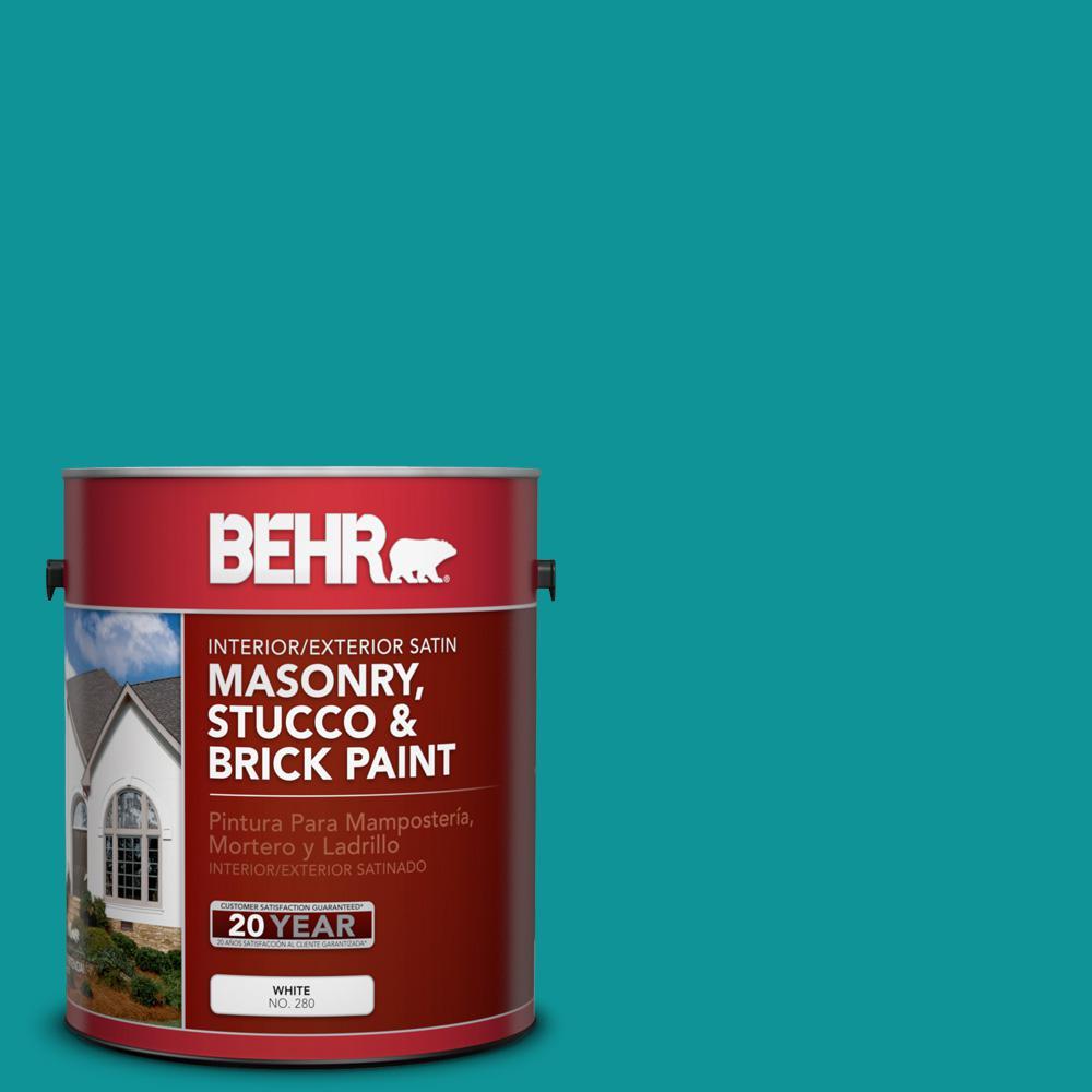 1 gal. #P460-6 Paradise Landscape Satin Interior/Exterior Masonry, Stucco and Brick Paint