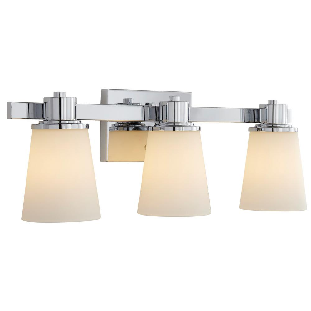 Home Decorators Collection 3-Light Chrome Bath Vanity Light with Bell Shaped Etched White Glass