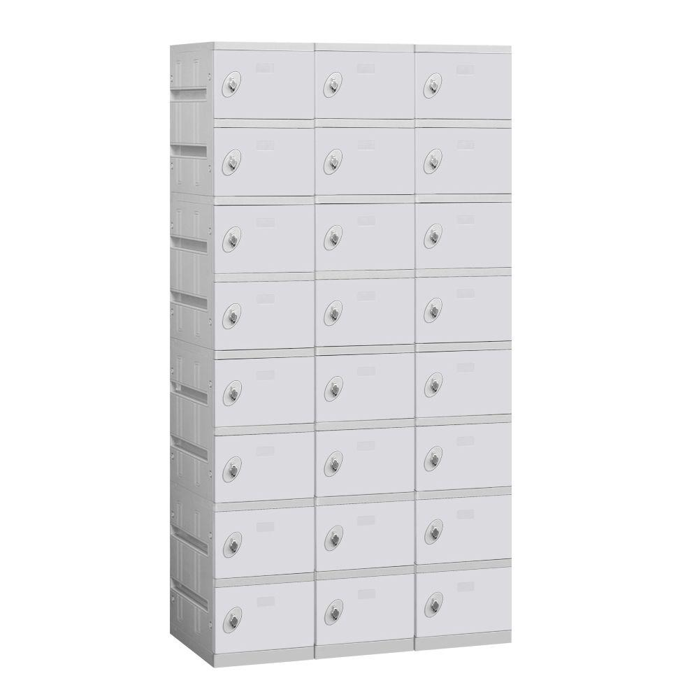 Salsbury Industries 98000 Series 38.25 in. W x 74 in. H x 18 in. D 8-Tier Plastic Lockers Assembled in Gray