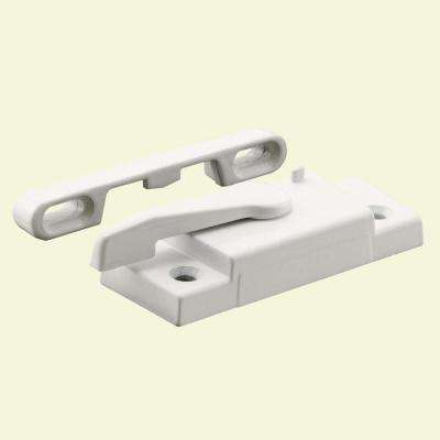 Window Sash Lock with Keeper Right Hand in White