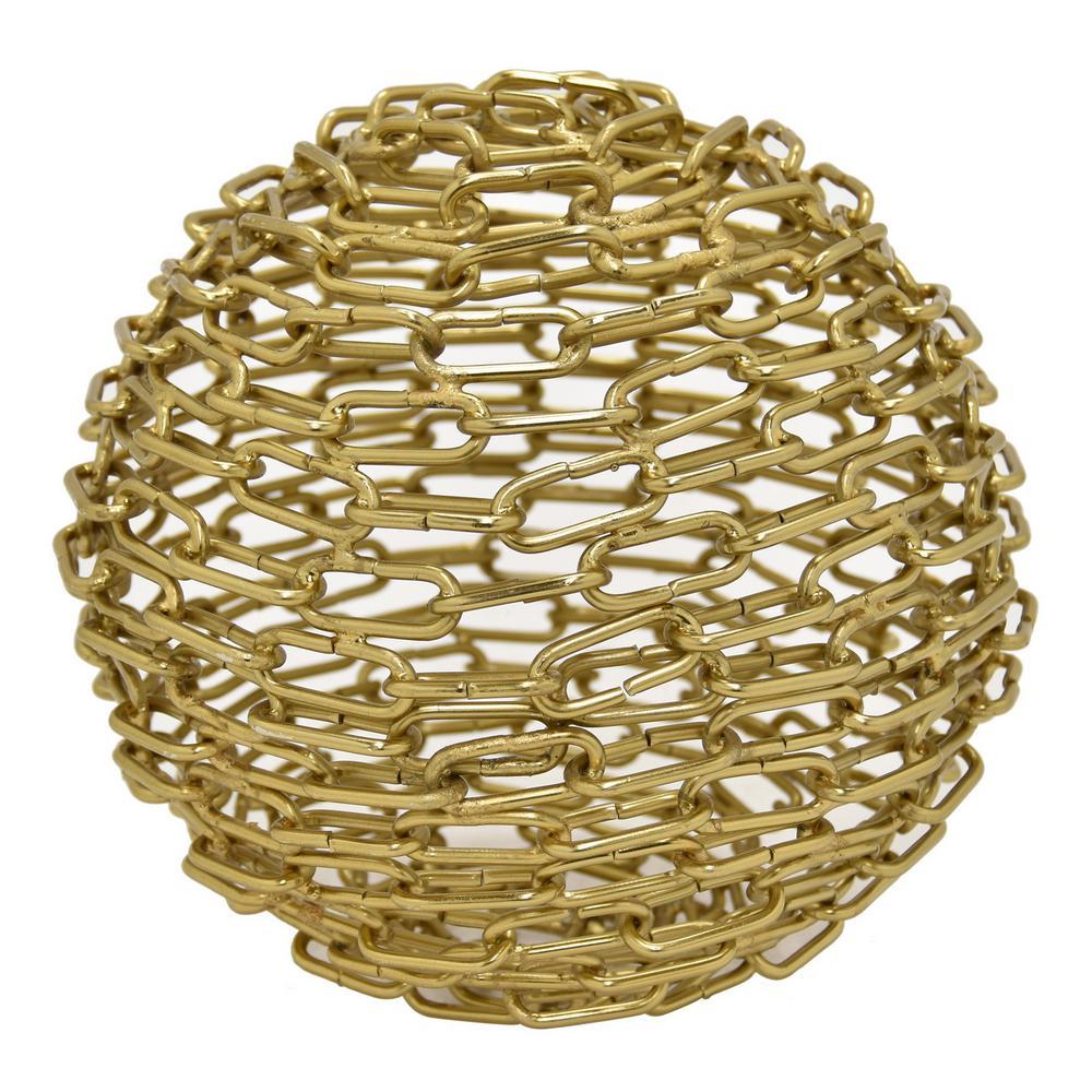8 in. Gold Metal Sphere Tabletop