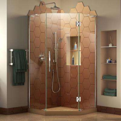 Prism Plus 40 in. D x 40 in. W x 72 in. H Frameless Pivot Neo-Angle Shower Enclosure in Chrome Hardware