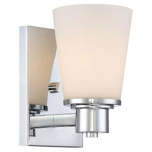 Home Decorators Collection 1 Light Chrome Bath Vanity Light With Bell Shaped Etched White Glass