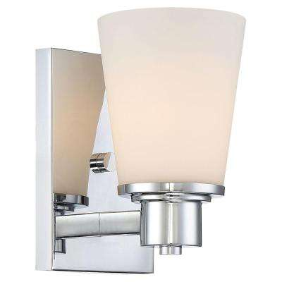 1-Light Chrome Bath Vanity Light with Bell Shape Etched White Glass
