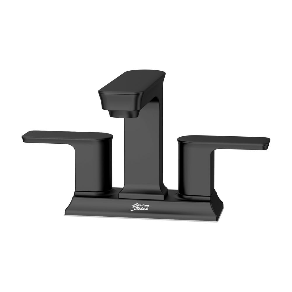 AMERICAN STANDARD Forsey 4 in. Centerset 2-Handle Bathroom Faucet with Easy Install Push Drain in Matte Black