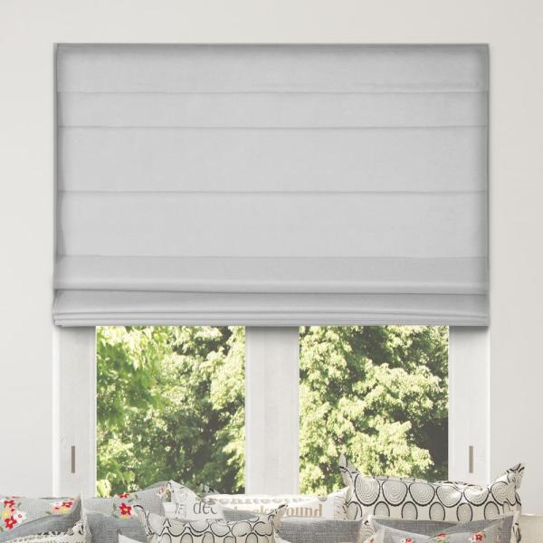 Light Gray Cordless Bottom Up Blackout Fabric Roman Shade 33.5 in. W x 60 in. L (Actual Size)