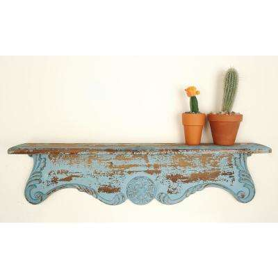 32 in. x 8 in. Rustic Carved Wooden Wall Shelf